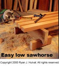Easy low sawhorse