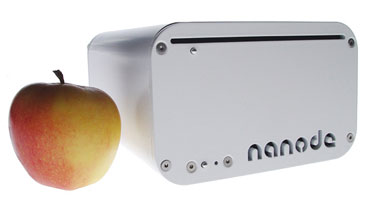 Nanobe computer sat next to an apple
