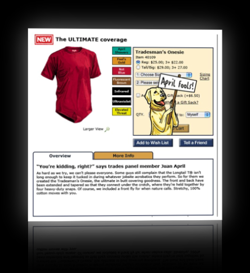 Duluth Trading Company April Fool's Joke